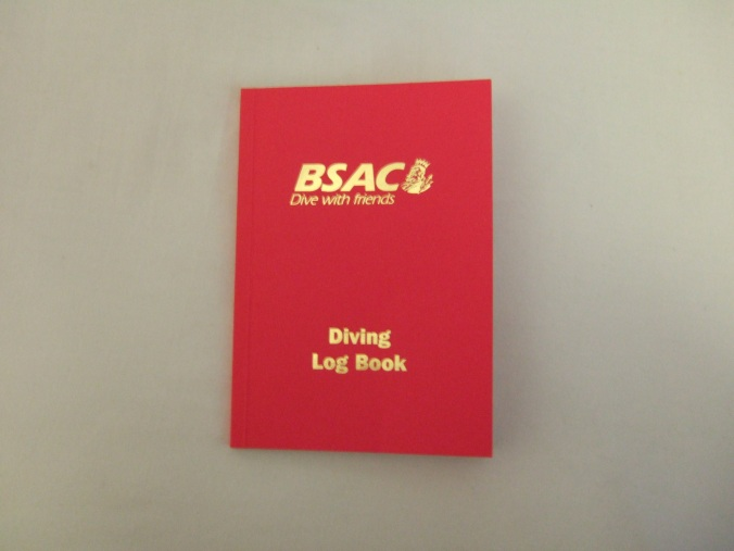 My red Diiving Log Book, as provided by BSAC.